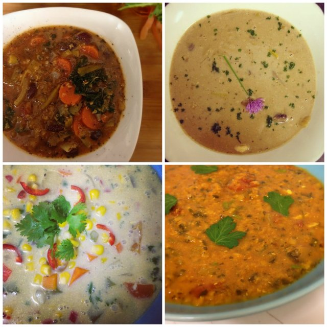 Clockwise from top left; Lightened-Up Laksa (page 134), Abe's Hearty Lentil Soup (page 126), Chipotle Corn Chowder (page 131), Smoky Split Pea Soup (page 145), Quinoa Minestrone (page 144), Cream of Mushroom Soup (page 137), Chipotle Corn Chowder, Moroccan Lentil Soup (page 142).