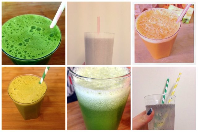 Clockwise from top left; Ultra Green Juice (page 215), Raw Cashew Horchata (page 216) Australian Carrot Celery Apple Refresher (page 212), Orange Carrot Beet-It Juice (page 211), Minted Cucumber Melon Juice (page 209), Chia Limeade (page 211).