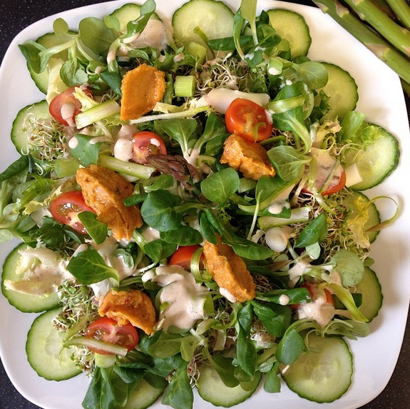 Salad with Oil-Free Hummus (page 160) and Spicy Caesar Dressing (page 93).