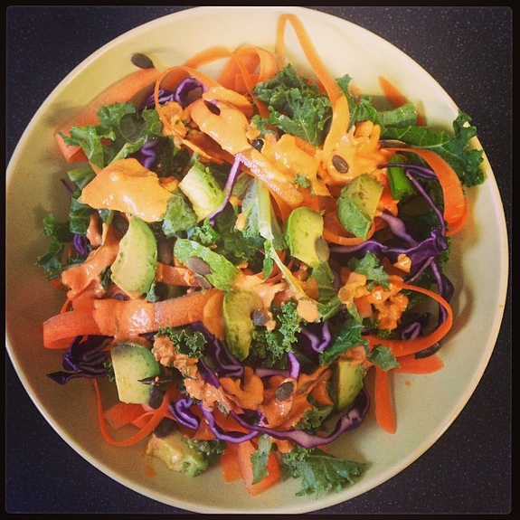 Rawkin' Rainbow Kale Salad with Creamy Chili Lime Dressing (page 110 - recipe below).