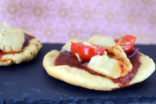 Mini Yeast Free Pizzas with two #vegan cheeses! #yeastfree #pizza #dairyfree #vegancheese