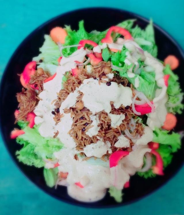 Indian Tahini Rice Salad #vegan #healthy