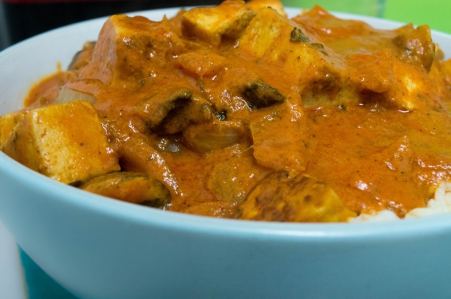Mushroom and Tofu in a Red Pepper Curry Sauce #vegan