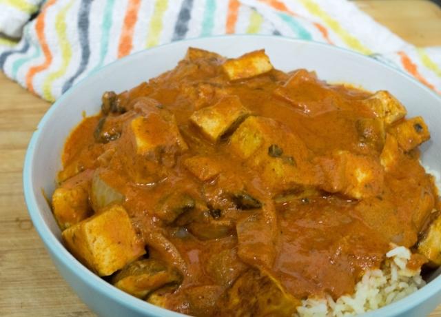 Mushroom and Tofu in a Red Pepper Curry Sauce #vegan