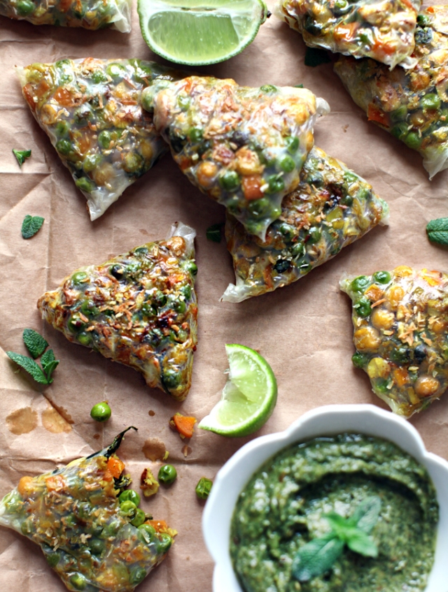 non fried, rice paper samosas #vegan