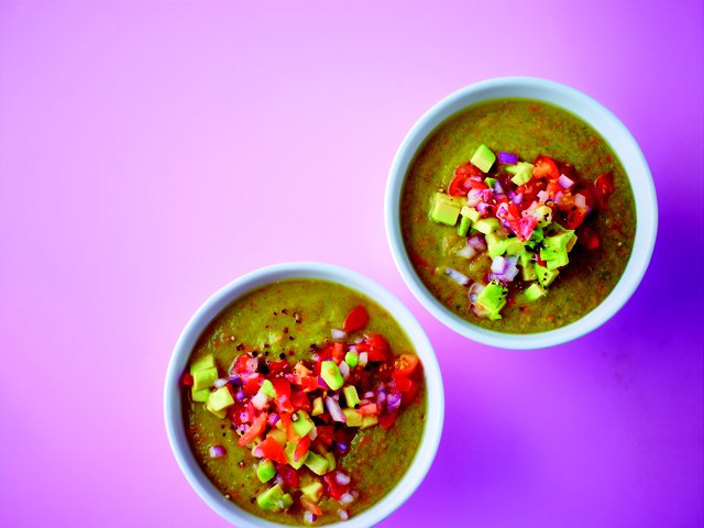 Yellow Gazpacho with avocado Salsa #vegan #52diet