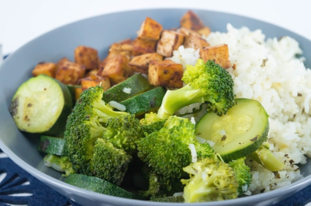 Marinated Tofu and Brown rice bowl #vegan