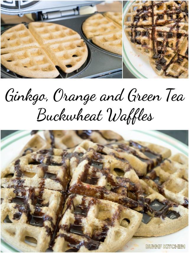 Ginkgo, Orange and Green Tea Buckwheat Waffles #vegan #brunch #breakfast
