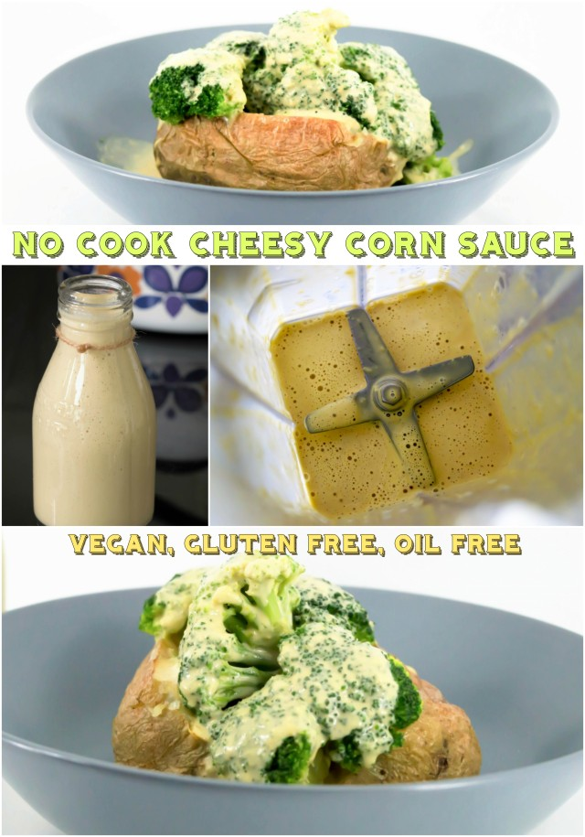 This Cheesy Corn Sauce is deliciously creamy, tangy and nutty. So easy and no cook! #vegan #tahini #nutbutter #dairyfree