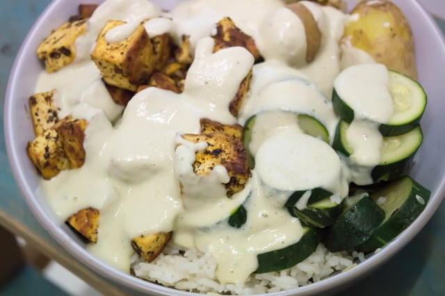 Middle Eastern Tofu Bowl With Lightened up Tahini Sauce #vegan
