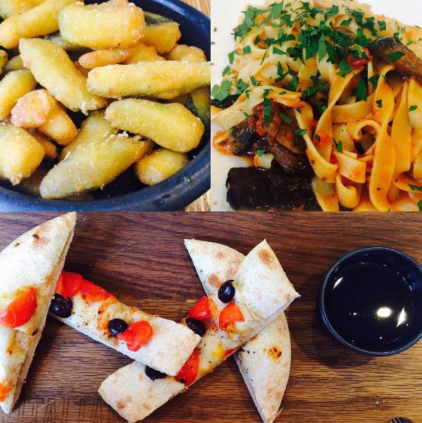 Zucchini fritte, Aubergine and Tomato fettuccine and Mediterranean focaccia at ASK Italian