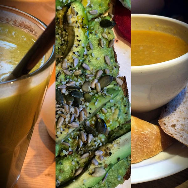 Green Juice, Avocado Toast and Butternut Quinoa Soup at Le Pain Quotidien
