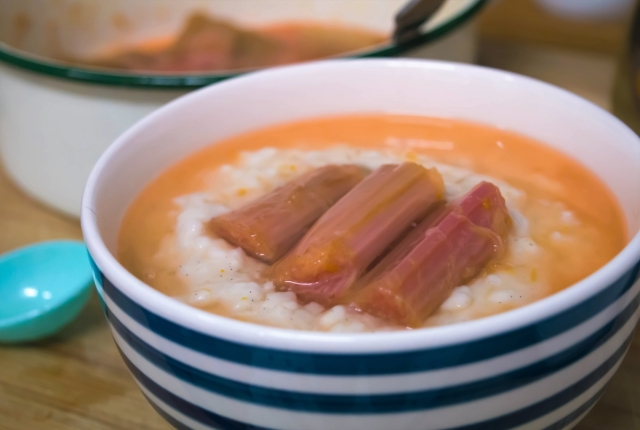 Rhubarb & Orange compote over creamy rice pudding