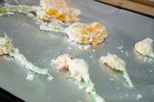 A Roman Adventure: Baked Stuffed Courgette Flowers filled with creamy, cheesy, squash and baked until golden and crisp