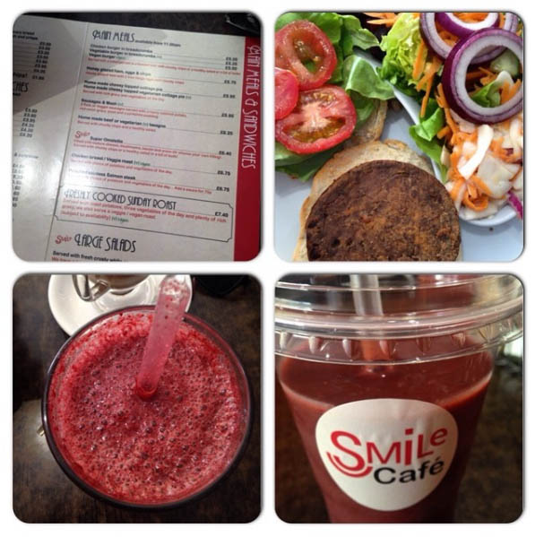 Veggie Burger and Smoothie at Smile Cafe