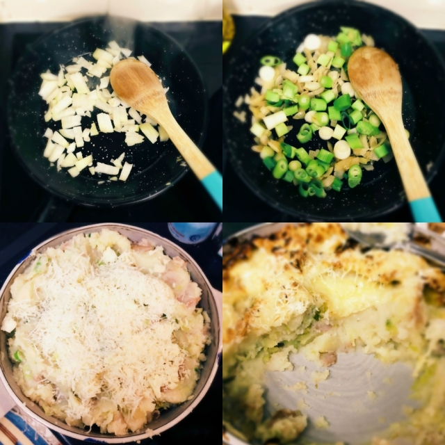 Traditional Scottish Rumpledethumps Veganized! Creamy Potato, hearty cabbage and sweet onions topped with cheese and baked until bubbling. Autumn Comfort Food. #vegan