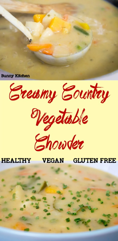 Creamy Vegetable Chowder #vegan #soup #comfortfood #autumn #slimmingworld