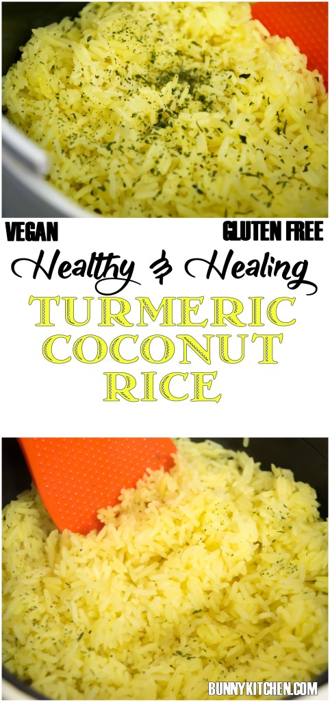This vibrant Turmeric Coconut Rice not only tastes delicious, it's good for you too! #healthy #superfood #vegan